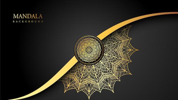 Schöner arabischer goldener mandalaschwarzhintergrund mit islamischem stil des musters