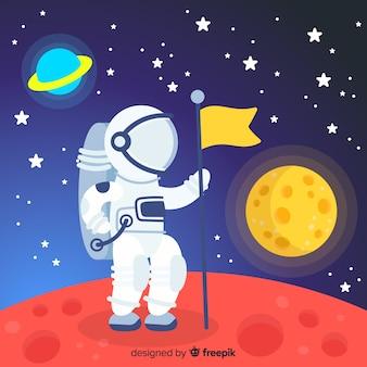 Schöner astronautencharakter mit flachem design