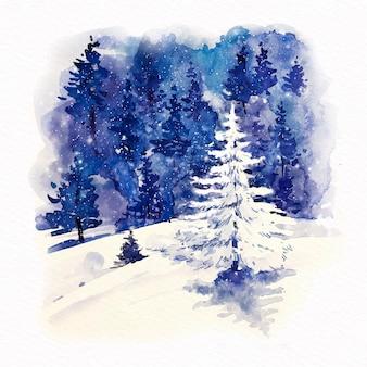 Schöner baum der vorderansicht mit schnee