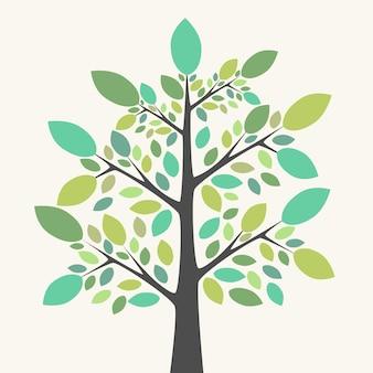 Schöner baum mit mehrfarbigen grünen blättern in verschiedenen schattierungen und tönungen. natur, wachstum, ökologie, lebenskonzept. eps 8-vektor-illustration, keine transparenz