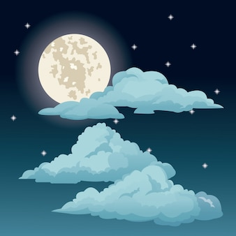 Schöner blauer himmel spielt wolkenmond die hauptrolle