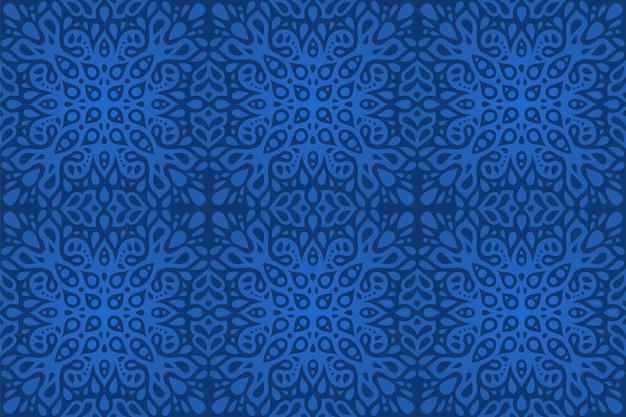 Schöner blauer hintergrund mit dem abstrakten bunten östlichen nahtlosen muster