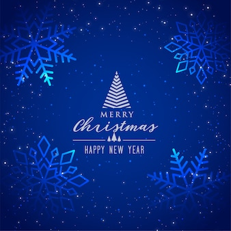 Schöner blauer schneeflockenhintergrund für frohe weihnachten