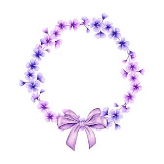 Schöner blauer und lila blumenrahmen mit geschenkschleife