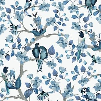Schöner blauer vogel im blauen blumengarten.