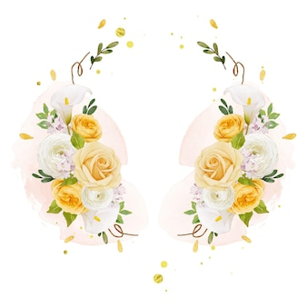 Schöner blumenkranz mit aquarell gelber rosenlilie und ranunkelnblüte