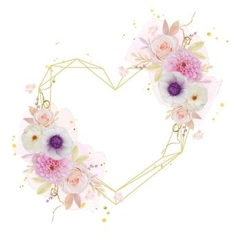 Schöner blumenkranz mit aquarell-rosendahlie und anemonenblume