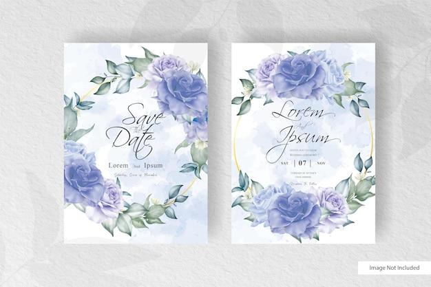 Schöner blumenkranz mit aquarell-spritzhochzeits-einladungskartenschablone