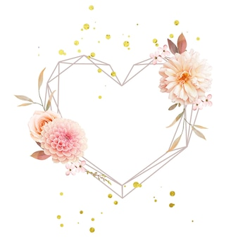 Schöner blumenkranz mit aquarelldahlien und rose