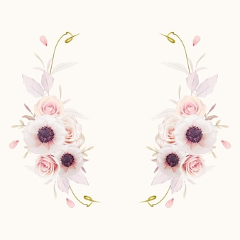 Schöner blumenkranz mit aquarellrosa rosen und anemonenblume