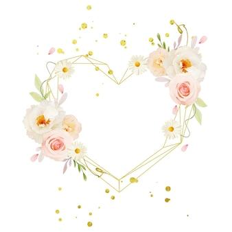 Schöner blumenkranz mit aquarellrosa rosen und weißer pfingstrose