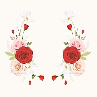 Schöner blumenkranz mit aquarellrosa und roten rosen Premium Vektoren