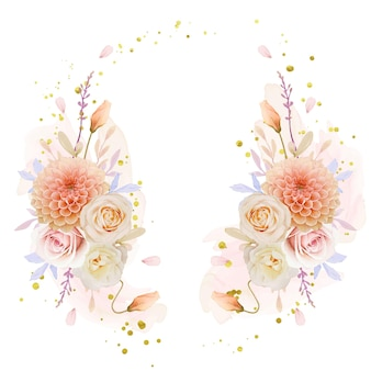 Schöner blumenkranz mit aquarellrose und dahlienblüte
