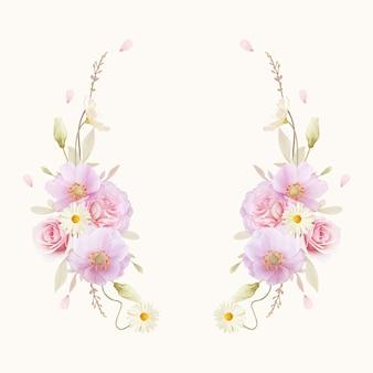 Schöner blumenkranz mit aquarellrosen und anemonenblume