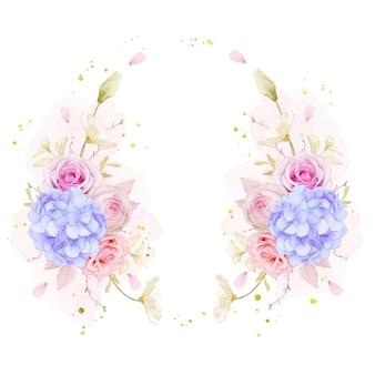 Schöner blumenkranz mit aquarellrosen und blauer hortensienblume