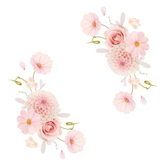 Schöner blumenkranz mit aquarellrosen und rosa dahlie