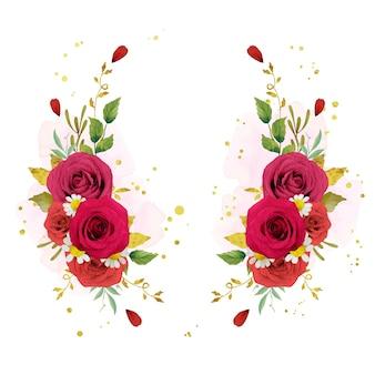 Schöner blumenkranz mit aquarellroten rosen