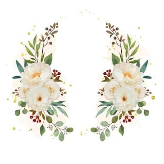 Schöner blumenkranz mit aquarellweißrose und pfingstrosenblume