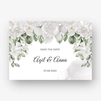 Schöner blumenrahmen für die hochzeit mit weißer gardenie-blume