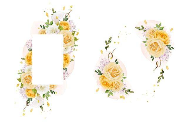 Schöner blumenrahmen mit aquarell gelber rosenlilie und ranunkelnblume