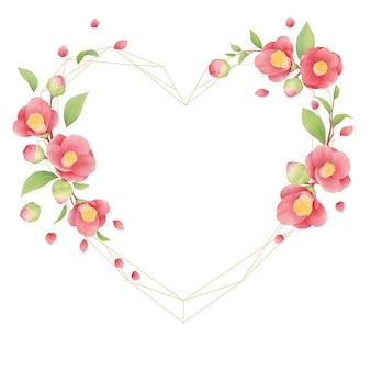 Schöner blumenrahmen mit aquarell-kamelienblüten