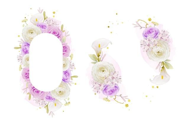 Schöner blumenrahmen mit aquarell lila rosenlilie und ranunkelnblume