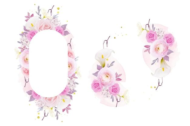 Schöner blumenrahmen mit aquarell rosa rosenlilie und ranunkelnblume
