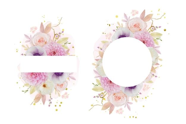 Schöner blumenrahmen mit aquarell-rosendahlie und anemonenblume