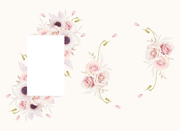 Schöner blumenrahmen mit aquarellrosa rosen und anemonenblume