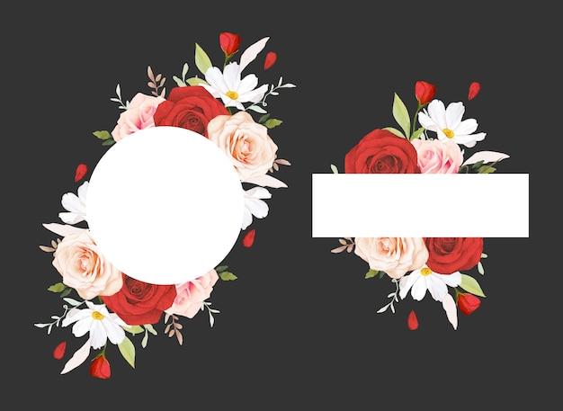Schöner blumenrahmen mit aquarellrosa und roten rosen