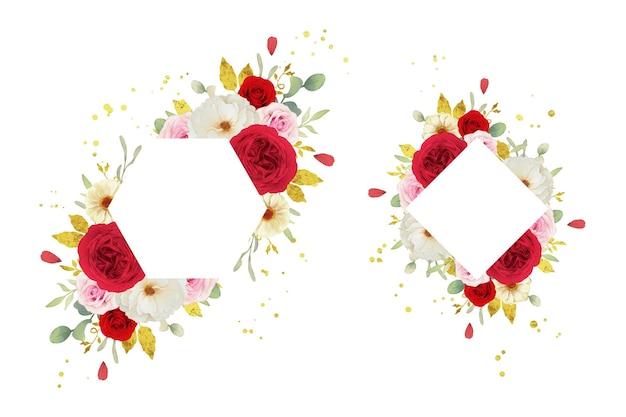 Schöner blumenrahmen mit aquarellrosa weißen und roten rosen