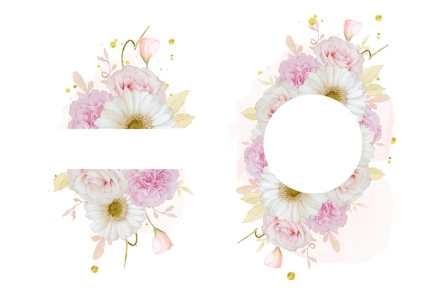 Schöner blumenrahmen mit aquarellrosarose und weißer gerberablume