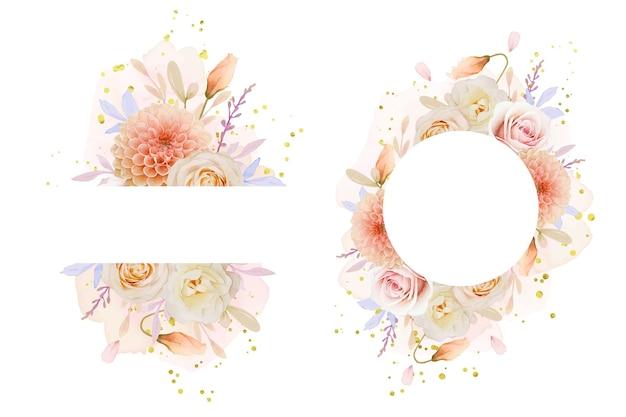 Schöner blumenrahmen mit aquarellrose und dahlienblume