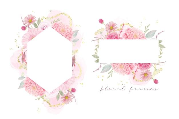 Schöner blumenrahmen mit aquarellrosen, dahlien- und gerberablumen