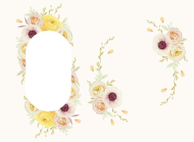 Schöner blumenrahmen mit aquarellrosen ranunkel und anemonenblumen