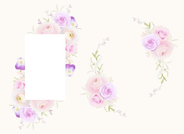 Schöner blumenrahmen mit aquarellrosen ranunkel und stiefmütterchenblume