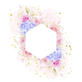 Schöner blumenrahmen mit aquarellrosen und blauer hortensienblume