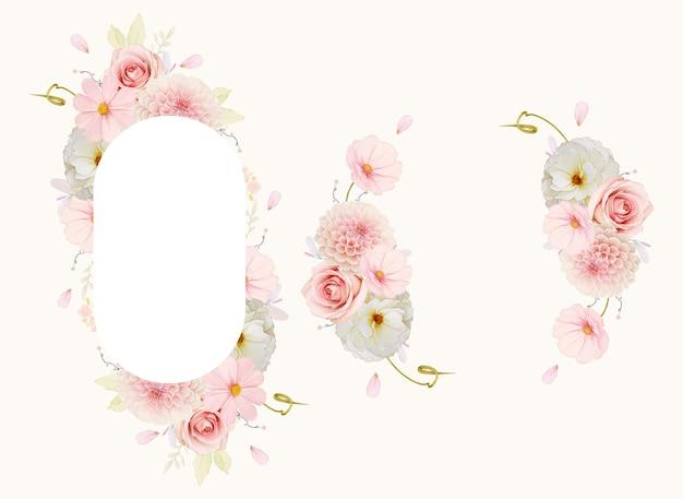 Schöner blumenrahmen mit aquarellrosen und rosa dahlie