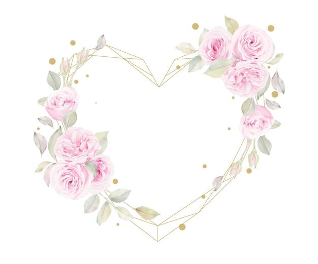 Schöner blumenrahmen mit aquarellrosenblume