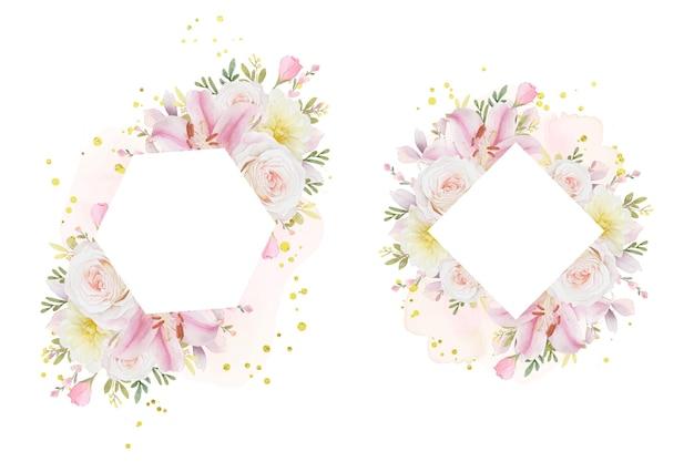 Schöner blumenrahmen mit aquarellrosenlilie und dahlienblume