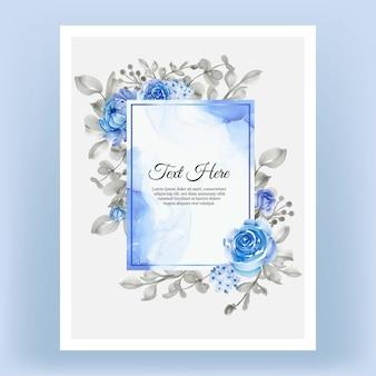 Schöner blumenrahmen mit elegantem blumenblau