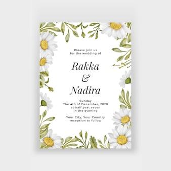Schöner blumenrahmen mit eleganter weißer gänseblümchenblumenhochzeitseinladung