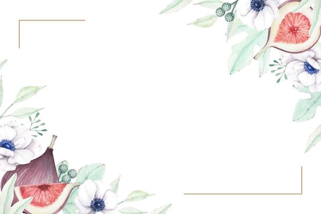 Schöner blumenrahmen mit feigen und anemonenblumen