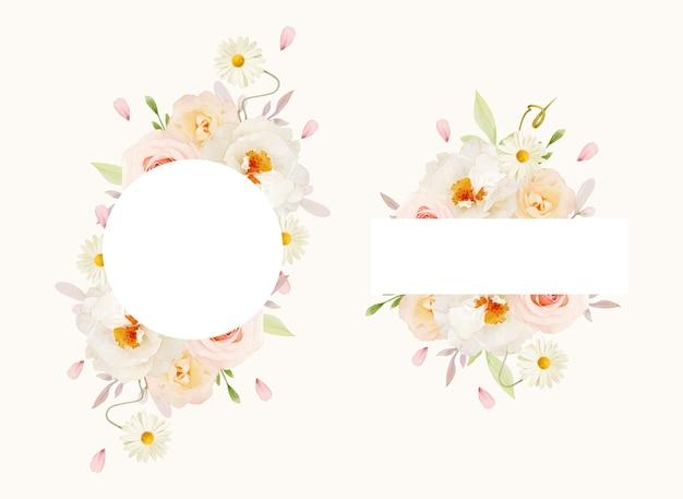 Schöner blumenrahmen mit rosa rosen des aquarells und weißer pfingstrose