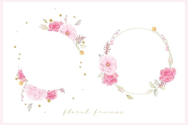 Schöner blumenrahmen mit rosa rosenaquarell
