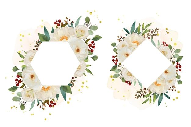 Schöner blumenrahmen mit weißer rose und pfingstrosenblume des aquarells