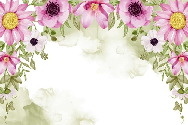 Schöner blumenrahmenhintergrund mit rosa blumen und grünblattaquarell