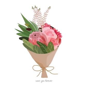 Schöner blumenstrauß mit gartenblumen. blumendekoration zum verschenken. vektor-illustration.