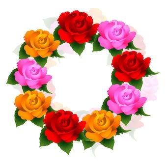 Schöner bunter kreisförmiger rosenblumenrahmen