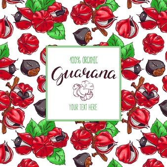 Schöner bunter rahmen mit guarana-hintergrund. handgezeichnete illustration